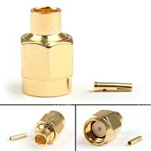 "Sale 2/10 Pcs RP-SMA Male Jack Center Solder Semi-Rigid For RG402 0.141"" RF Connector High Quality"