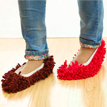 Popular 1Pc blue Chenille Floor Dust Cleaning Slippers Mop Wipe Shoe Cover Mophead CN #356(China)