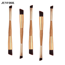 5Pcs Double Eyebrow Make Up Brushes Bamboo Oblique Eye Shadow Eyebrow Brush Concealer Makeup Nasal Movies Maquiagem Beauty Tool(China)