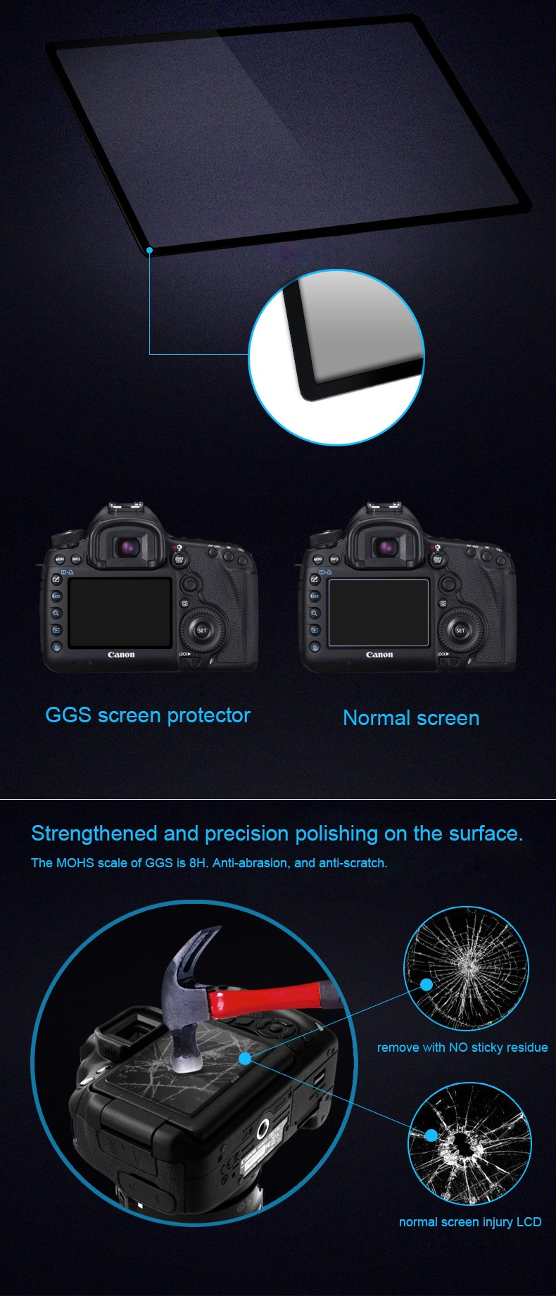 NEW GGS IV 0.3mm Japanese Optical Glass LCD Screen Protector Cover for Canon 6D Camera DSLR