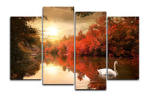 Original Oil Ink 4 Panels Canvas Print Autumn Swan Painting for Living Room Wall Art Picture Gift Home Decoration FOU021(China)