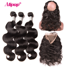 Brazilian Body Wave 360 Lace Frontal Closure With Bundle Human Hair 3 Bundles With Closure Alipop 360 Lace Frontal NonRemy 4 PCS(China)