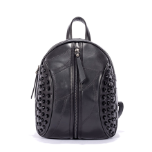 Cool walk backpack Women 's Backpack Shoulder Bag Leather bag Sheepskin bag Rivets decoration Fashion Young Women Backpack Punk