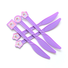10pcs/lot Purple Sofia Cartoon Theme Plastic Spoon Knives Forks For Kids Birthday Festival Party Supplies Decoration(China)
