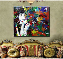 Free Shipping Handmade Colourful Pop art  oil paintings on Canvas of Audrey Hepburn Modern wall Art   For home Decor