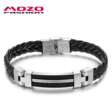 MOZO FASHION Men Bracelet Black Braided PU Leather Rope Chain Bracelet Stainless Steel Wire Rope Bracelets Male Jewelry MPH524(China)