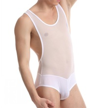 New Men Transparent Underwears Mens Tight Body Onesies Silky Soft Undershirts Shapers Sexy Singlet Leotard Mesh Bodysuits Casual(China)