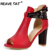 REAVE CAT Shoes woman high heel Genuine Leather sandals women sexy fashion lady female shoes R233 hot sale EUR size 32-43
