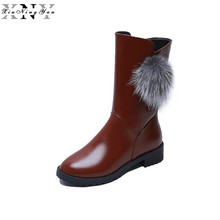XiuNingYan Women Snow Boots Wedges Hidden Heels Platform Slip on Winter Boots Super Warm Thick Fur Inside Mid Calf Fashion Boots(China)