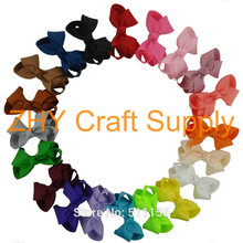 "2017 New Cute 3"" Grosgrain Ribbon Hair Bow Without Clips Hair Accessories Kids Girl Boutique Hair Accesories(China)"
