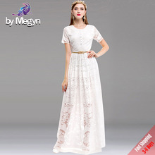 2017 New Fall Runway Designer Maxi Dress Women's Short Sleeve White Lace Embroidered Gold Flower Sashes Long Dress Fee DHL UPS(China)