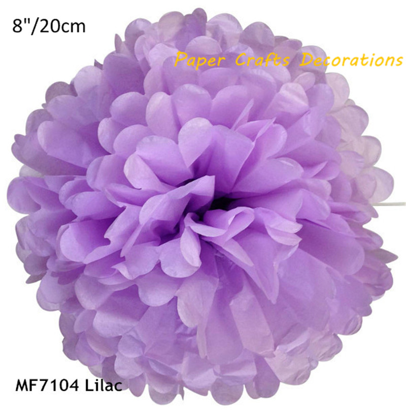8inch=20cm 12pcs/lot Lilac Round DIY Tissue Paper Pom Poms Flowers Rose Ball For Wedding Holiday Room Party Decorations 38colors(China (Mainland))