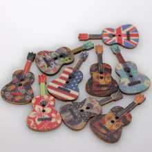 100Pcs/set Cool Rustic Wedding decoration Guitar style wooden button diy craft scrapbook candy box event party supply(China)