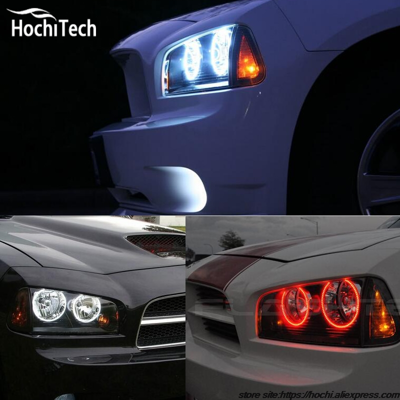 for Dodge Charger RGB LED headlight halo angel eyes kit car styling accessories 2005 2006 2007 2008 2009 2010<br>