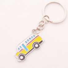 FREE SHIPPING BY DHL 200pcs/lot 2015 Wholesale Zinc Alloy Metal Enamelled Flat Bus Shaped Keychains Keyrings for Students