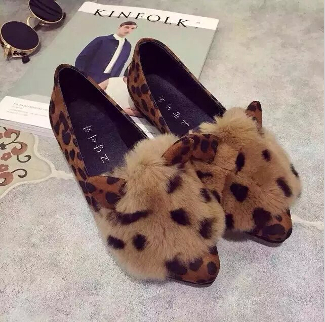 New Falts womens shoes Leopard pointed flat with shallow mouth rabbit Loafers soft bottom casual women shoes<br><br>Aliexpress
