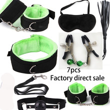 Buy 7Pcs/set Sexy Lingerie BDSM Sex Bondage Set Hand Cuffs Footcuff Whip clip mask plug Rope Blindfold Erotic Sex Toys Couples