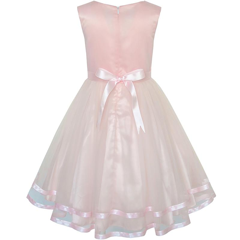 Sunny Fashion Flower Girls Dress Blush Belted Wedding Party Bridesmaid 18 Summer Princess Dresses Kids Clothes Size 4-12 2