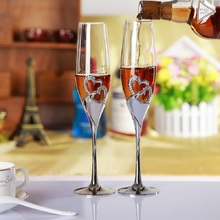 new fashion heart shape wedding toasting wine glass crystal 200ml champagne flutes metal stand goblet lover gifts drinking cup