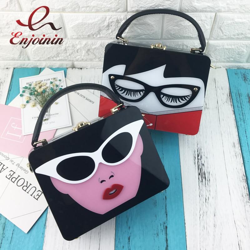 New style acrylic cartoon woman fashion box style men casual totes shoulder bag handbag ladies purse crossbody messenger bag<br>