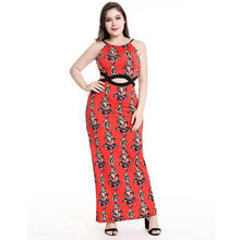 2018 Summer New sexy printing long dress Women midriff-baring sleeveless  Off Shoulder spaghetti strap club party dress plus size 61d1a5d68749