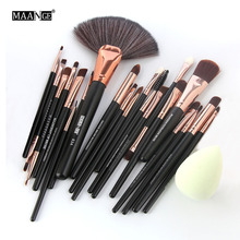 3Color 22Pcs Pro Eyeshadow Powder Foundation Eyeliner Lip Facial Makeup Brushes Set Sponge Puff Fan Brush Cosmetic Beauty Tools(China)