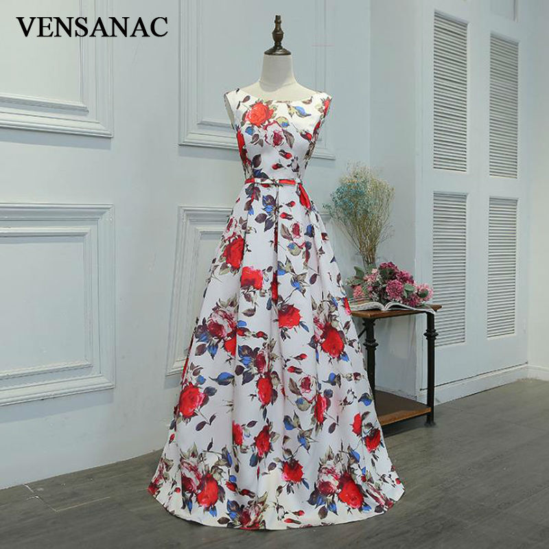 VENSANAC New A Line 2018 Draped O Neck Draped Long Evening Dresses Sleeveless Elegant Lace Flowers Tank Party Prom Gowns