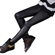 Girls Spring Summer Black And Blue Faux Leather Skinny Leggings Children Pants Leather Girls Pants(China)