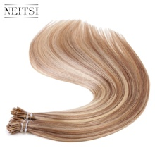 "Neitsi I Tip Stick Tip Keratin Human Hair Extensions 100% Raw Indian Virgin Remy Hair Straight Pieces 20"" 1g/s 50g 100g P14/24#"
