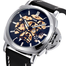 Black Genuine Leather Strap Mens Watches Top Brand Luxury Auotmatic Watch Men Hollow Gold Movement Mechanical WristWatch relogio(China)