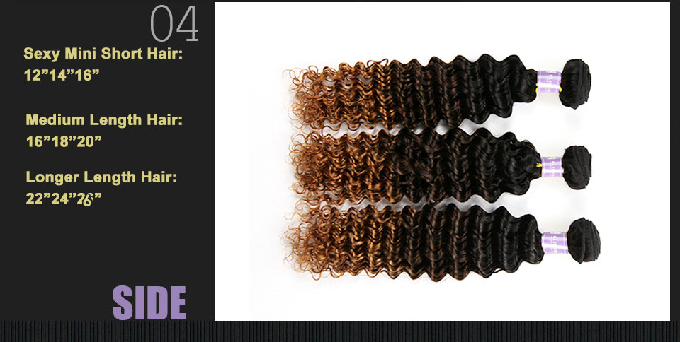 ALIMICE Ombre Indian Deep Wave Human Hair Weaves 3 Bundles T1B430 Ombre Hair Bundles Three Tone 100% Non Remy Hair Extensions (1)