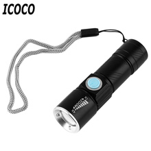 ICOCO 1pcs 2000LM Q5 LED waterproof Super Bright Tactical Rechargeable USB Flashlight Torch Zoom Adjustable Promotion Sale