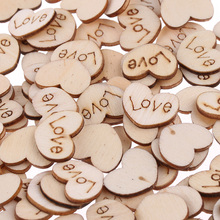 100pcs/Bag Rustic Wooden Wood Scrap Mini Love Heart Wedding Table Scatter Decoration Booking Crafts Card 15mm Buttons