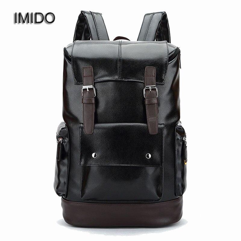 IMIDO Hot Sale Men PU leather backbags travel safe bag Functional Backpacks for Laptop Bags Male Black Big mochilas 2017 SLD023<br>