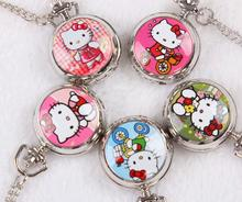 10 piece /lot silver cartoon Hello kitty pattern quartz pocket watches necklace pandant woman child gift