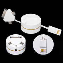 3in1 Retractable power charing charger date sync transmit rope line cord wire cable for iPhone 4 5 6 7 Android Samsung Xiaomi