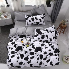 New bed linen Bedding Set black Cow Curve Duvet Cover Flat Sheet Pillowcase Quilt Cover Bed Set Full Queen King 4pcs bed set(China)