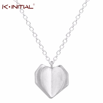 Kinitial 1Pcs New Valentine Lover Gift 3D Heart Chain Necklaces Heart Pendants Necklace Statement Jewelry For Women Party Bijoux