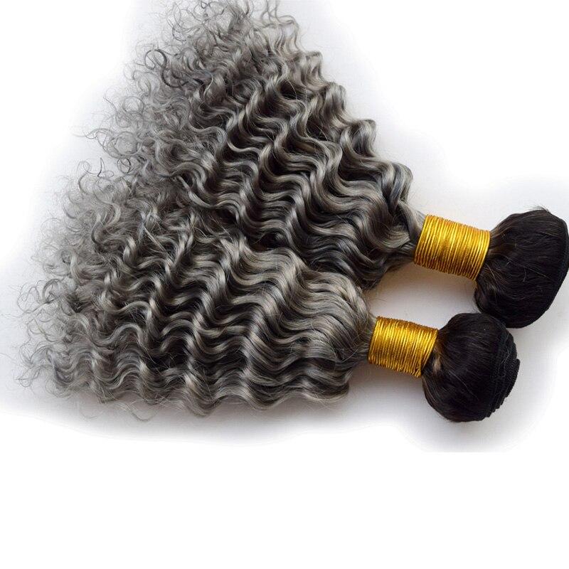 Peruvian Deep Curly Hair Ombre Grey Hair Weft 2bundles/lot Deep Wave Silver 1b/Grey Ombre Hair Weave Bundles<br><br>Aliexpress