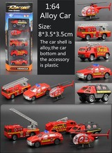 5pcs/set 1:64 Diecast Cars Fire Engines Metal Model Car Brinquedos Metal Fire Truck Toy Dinky Toys For Children Vs Hotwheels