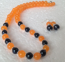 Free shipping Wholesale price  + 7-8MM Natural Black Akoya Cultured Pearl/Orange  necklace earrings set $30%