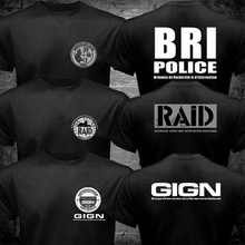 New France French Special Elite Police Forces Unit GIGN Raid BRI Black T shirt Tee Mens 100% Cotton Short Sleeve T-Shirt(China)