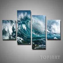 4 Panel Ocean Wave Canvas Painting Sea Storm Seascape Decorative Wall Art Pictures For Contemporary Home Decor (No Frame)