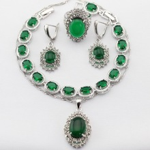 Silver Color Women Jewelry Sets Green Imitated Emerald Necklace Pendant Drop Earrings Rings  Bracelet Christmas&Halloween Gift