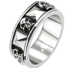 Size 7-15 Retro Vintage Stainless Steel Gothic Skull Ring Band Skeleton Death Bone Halloween hiphop biker(China)