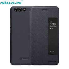 For Huawei P10 Cover for Huawei P10 Plus PU Leather Case NILLKIN Hard PC Frosted Back Cover Flip Smart Sleep Mobile Phone Cases