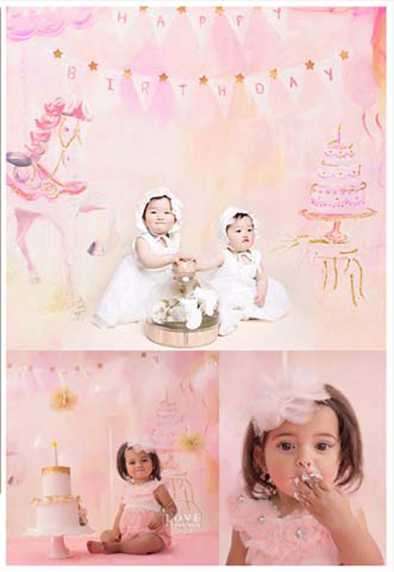 5*6.5ft Birthday Photography Backdrops Vinyl Coloured Ribbon Flags for Kids Photos Sweet Cake Photo Background Studio Newborn<br><br>Aliexpress