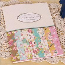 16 sheets of Mini Gift Pattern Wrapping Paper Book ,8 Designs Flower Gift Wrap Paper Kit(China)