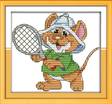 The sport mouse (9) - tennis, counted printed on fabric DMC 14CT 11CT Cross Stitch kits,embroidery needlework Sets, Home Decor(China)