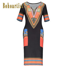 Bohoartist 2018 New Arrival Sexy Bodycon Dress Women Pullover Summer Dress Girls Geometric Print Black Bohemian Dress V-Neck(China)